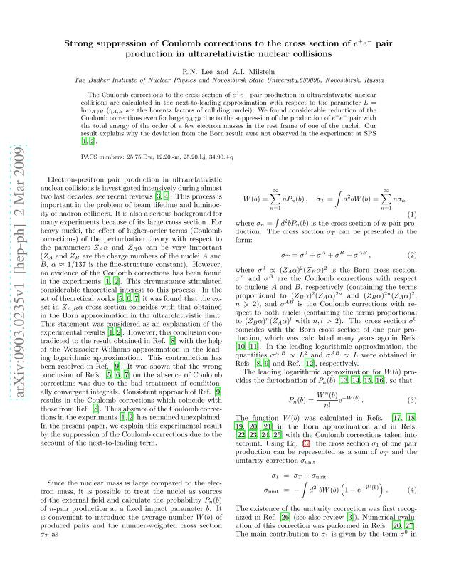 R. N. Lee - Strong suppression of Coulomb corrections to the cross section of e+e- pair production in ultrarelativistic nuclear collisions