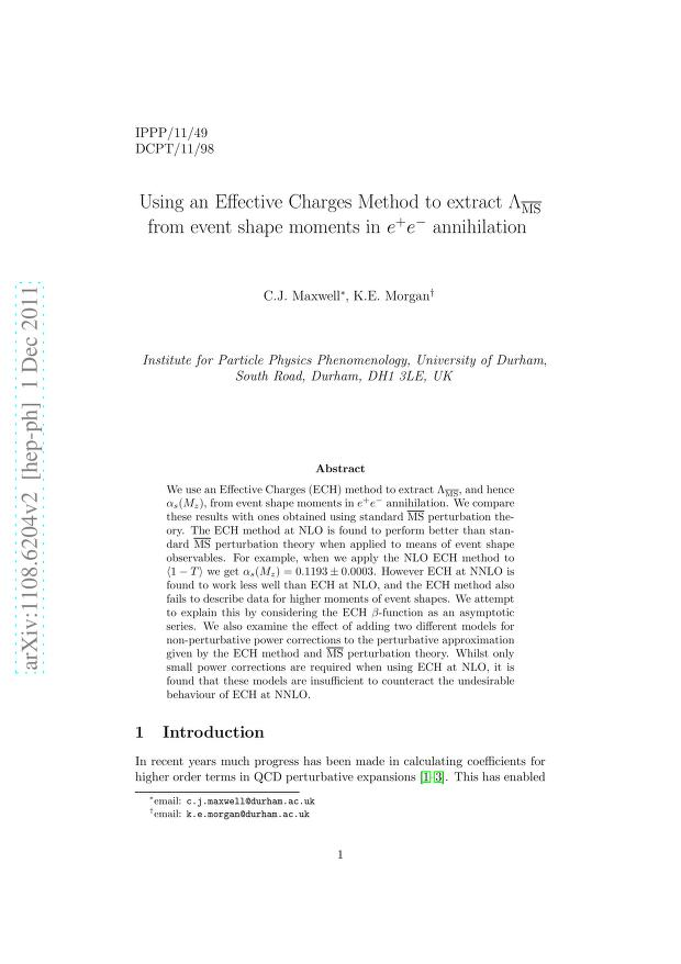C. J. Maxwell - Using an Effective Charges Method to extract Lambda-MS-bar from event shape moments in e+e- annihilation