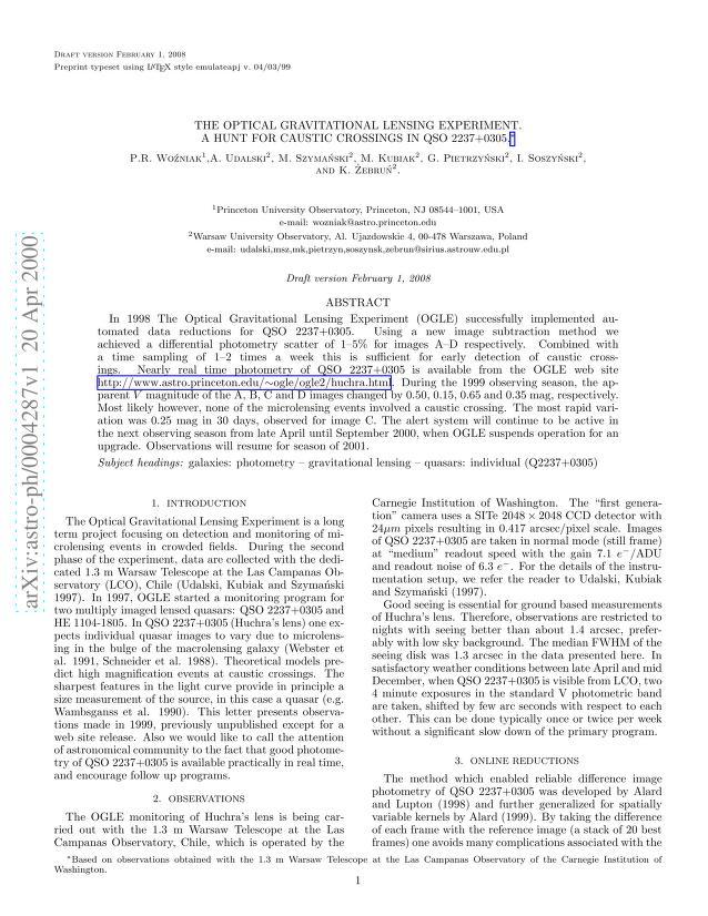 P. R. Wozniak - The Optical Gravitational Lensing Experiment. A Hunt for Caustic Crossings in QSO 2237+0305