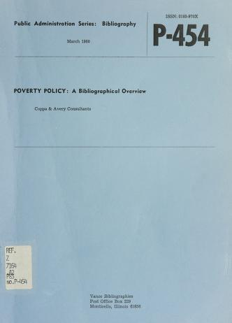 Cover of: Poverty policy | Coppa & Avery Consultants.