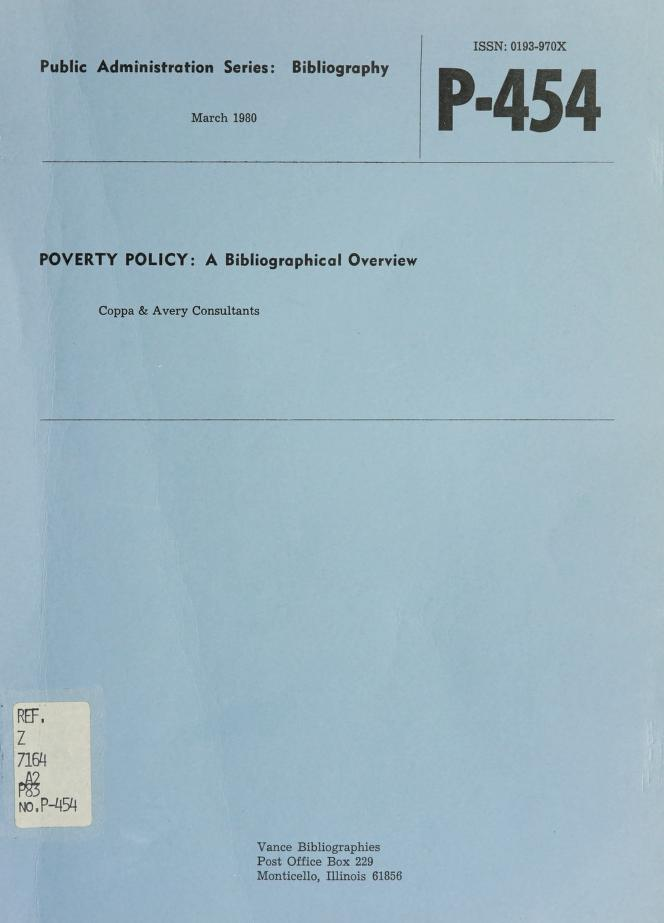 Poverty policy by Coppa & Avery Consultants.