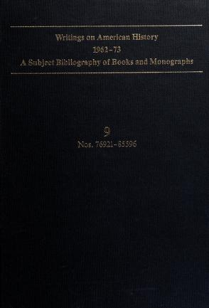 Cover of: Writings on American History, 1962-73: A Subject Bibliography of Books and Monographs | James R. Masterson